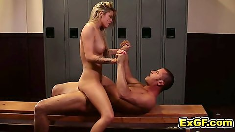 Jessa R. riding cock on the bench with nice skinny body