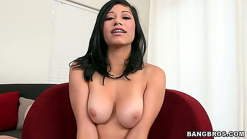 Natural tits Molly reaches for dick to suck on