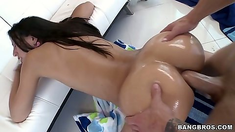 Doggy style anal with oil and stretching that ass Lyla Storm