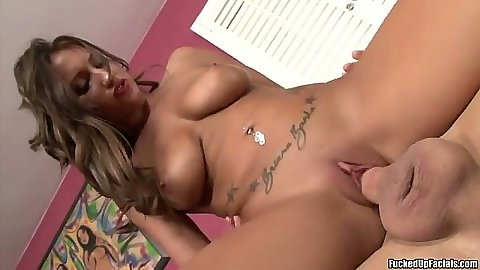 Lizz Tayler shaved pussy reverse cowgirl cock riding