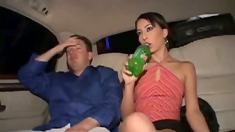 Backseat fully clothed Amanda in a miniskirt