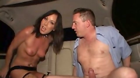 Backseat small tits nailing Julie Night