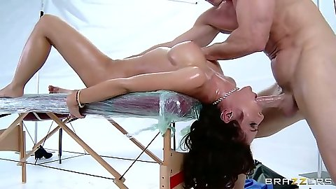 Reverse blowjob with oiled up Capri Cavanni after massage