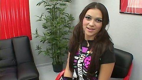 Office brunette teen Candy proceeding to suck
