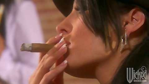 Tory Lane smoking a cigar in group sex bitch lesbian orgy