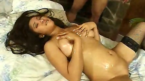 Asian oil massage with Scarlet and sliding cock between her tits