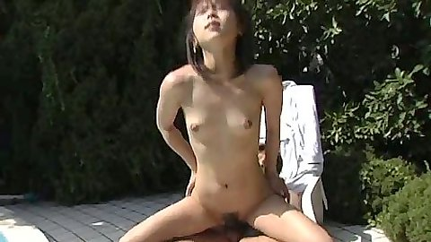 Reverse cowgirl petite asian girl jumping on dick with in the air fuck