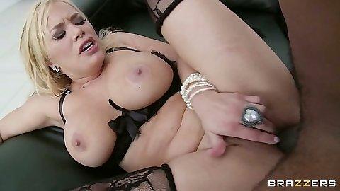 Shyla Stylez enjoys a white pussy black cock entry with girlfriend exchange