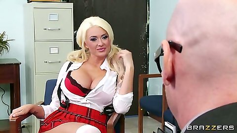 Blonde big tits school girl Summer Brielle being naughty with teacher