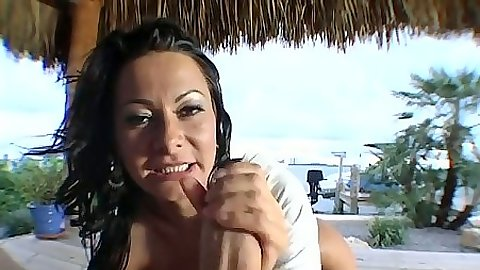 Pov handjob and fat dick milf sucking from Sandra Romain with ass spreading