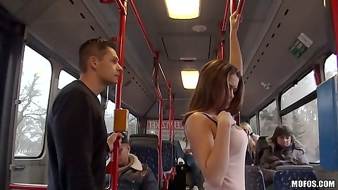 Bonnie public bus seducing teen gets man dick from behind