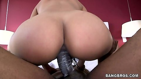 Big black latina ass riding huge black cock and a blowjob from Camila