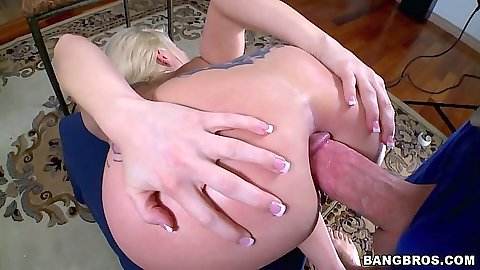 Ass spreading anal milf close up with open mouth ejaculation for Christie Stevens
