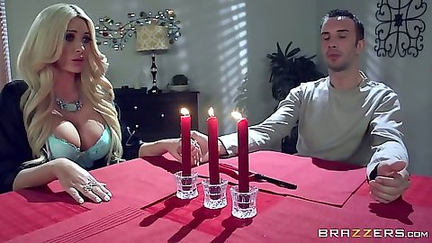 Summer Brielle bras and panties blonde flashing her cleavage at dinner table ass fingered