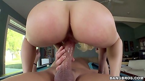 Perfect juicy ass cowgirl climbing and inserting cock inside with Anikka Albrite