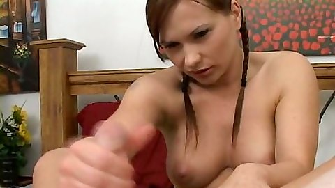 Katja Kassin does a good job with a handjob pov holding cock between feet