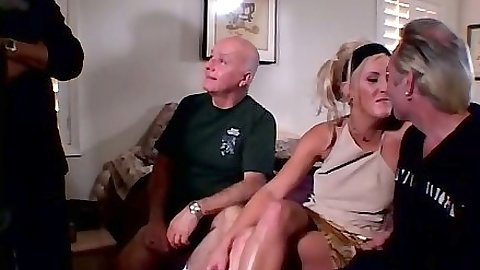 Blonde Vicky gets two cocks in mouth at once damn
