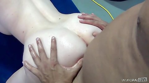 Doggy style with oil all over body fucking from Lylith Lust