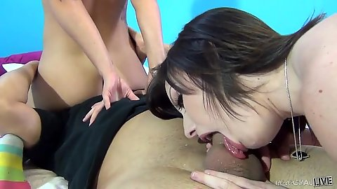 Mischa Brooks and Jennifer White suck and fuck penis in threesome