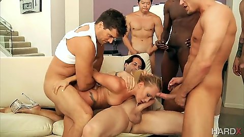 AJ Applegate doggy style fucked and deep throat during true group gang bang