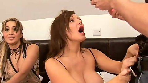 Busty group and strapon sex toy orgy