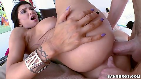 Hardcore fucking and ass spreading while Romi Rain is mounted on dick
