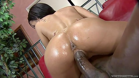 Ebony oil cowgirl fucking a black chick Aliana Love