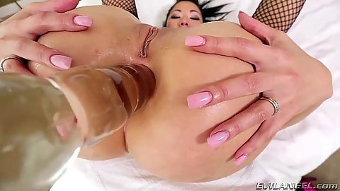 Ass spreading during anal dildo penetration for asian London Keyes