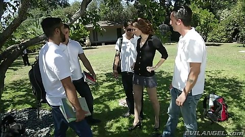 Misha Cross gets violated outdoors in the park by a gang of men
