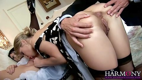 Playful threesome and close up sucking Kristy Lust and Black Angelika