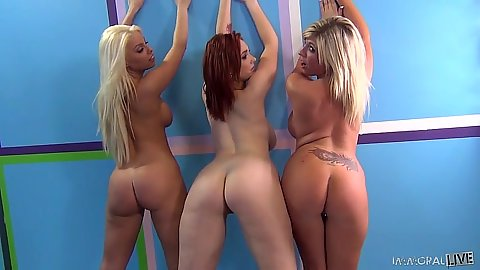 Group girls Heidi Hollywood and Siri and Britney Amber showing nice round asses