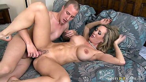 Busty blond milf sideways fucked in hairy twat Brandi Love