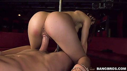 Reverse cowgirl with soil on stripper pole fuck Miss Rican