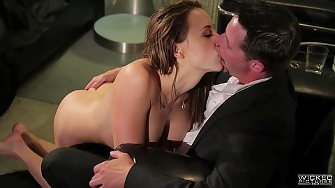Kissing and blowjob with busty cum eating slut Chanel Preston