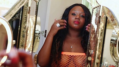 Ebony fishnet Jayden Starr blowjob and pussy licked from behind views:461