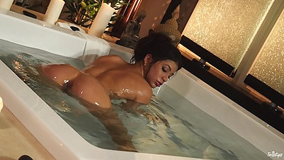 Spunky shower wet girl in perfect relaxtion softcore scene Veronica Rodriguez views:454