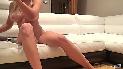 Flirting big boobs blonde Sienna Day fellatio and cowgirl on the couch views:691