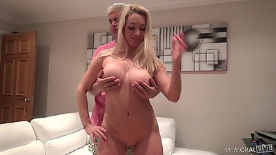 Feeling up lovely boobs on cock sucking blonde Victoria Summers views:2309