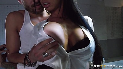 Brandy Aniston boobs squeezed in special investigation room views:1089