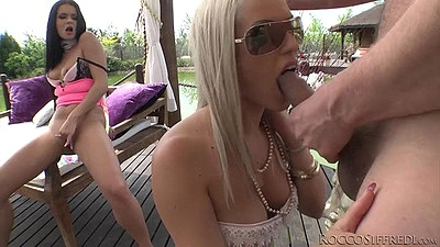 Kinky blowjob from blonde and brunette Victoria Blaze and Blanche Bradburry outdoors views:716