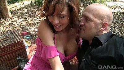 Outdoors with busty milf Angelica Raven then catch her in the toilet through glory hole views:542