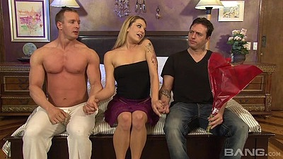 Teasing Dahlia Sky jerks two mans cocks in threesome views:379