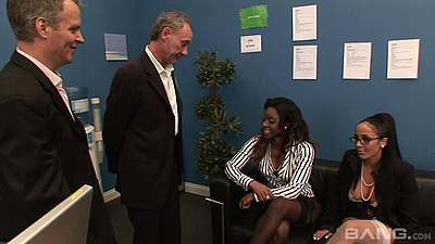 Office group action with Romana Ryder and Jasmine Webb in white cock blac kgirls views:429
