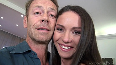 Smiling brunette Nataly Gold C lets Rocco digg her holes views:438