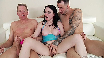 Fingering Veruca James while her jerks on two dicks at once views:339