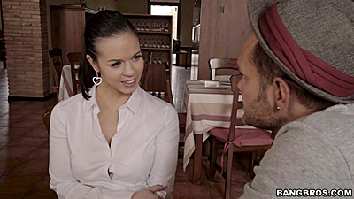 Smiling fully clothed waitress Nekane jerks off client views:6218