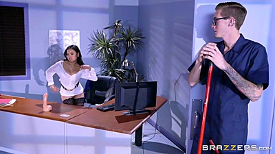 Janitor watches as asian office slut touches self Cindy Starfall views:1748