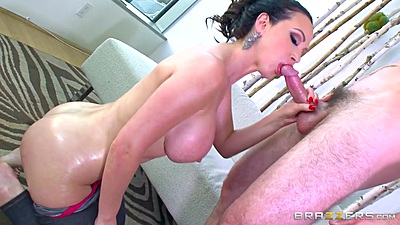 Oiled up big booty dreamy babe Nikki Benz sucks dick views:1255