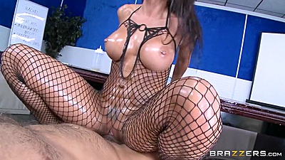 Energetic busty Rachel Starr in fishnet bodystocking riding on top in oil views:915