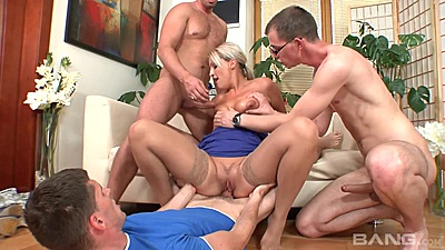 Sitting on cock and multiple cocks in mouth with euro mom Gilda views:651